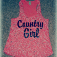Country Girl Paisley Print Tank - Organic Racerback Tank Top- Sizes S-XL.