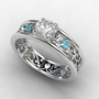 white sapphire ring, Blue topaz engagement ring, filigree ring, vintage style, sapphire engagement, blue topaz, wedding ring, white gold