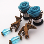 Glamsquared  Bird on my Shoulder Dangle Plugs - Nature Ornithology Kitsch