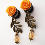 Glamsquared  Smaller Roses on the Vine Dangle Plugs