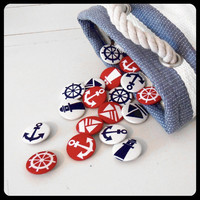 Nautical Fabric Badges  Pack of Four by KaelaMills on Etsy
