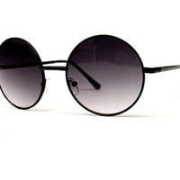 Amazon.com: Round Circle Vintage Retro Metal Sunglasses Unisex V105 (black - black lens, uv400): Clothing