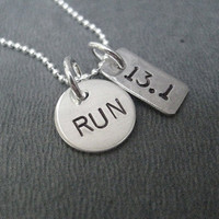 RUN DISTANCE Mixed Metals Necklace - 16 inch Sterling Silver Chain - Sterling Silver Round RUN Charm Plus Choose your Nickel Silver Distance