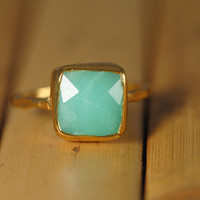 Chrysoprase Ring - Gemstone Ring - Gold Ring - Bezel Ring - Stackable Ring