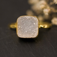 Druzy Ring - Druzy Agate - Druzzy stone ring - Bezel Set Ring - April Birthstone - Cushion cut