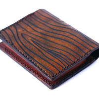 Little wallet leather wood grain in Brown by rntn on Etsy