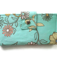Designer Womens Wallet in Mint Green and Floral by ecsquared