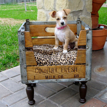 Upcycled Wooden Milk Crate Dog or Cat Pet by SammysBackyardCraft