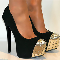 LADIES SIZE 6 BLACK METAL SPIKE STUDDED PLATFORM COURT SHOE STILETTO HIGH HEELS
