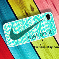 Green Nike Just Do It Mint Aztec Case , Nike Case , Just do it Case , Aztec Case , Mint Case : Iphone 4/4s case Iphone 5 case Galaxy S3