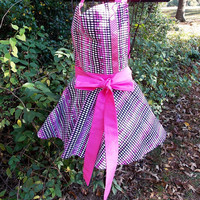 Full Bib Apron, Pink and Black, with sweetheart neck, gift, women's,