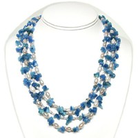 "HinsonGayle ""Sky"" Artisan Collection 2-Strand Blue Quartz and Cultured Pearl Rope Necklace..."