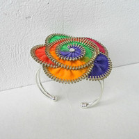 Colorful bracelet, hand painted, cuff bracelet zipper, rainbow jewelry, silver plated- Flower bracelet, eco friendly, recycled jewelry,