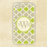 iPhone 4 Case - Green & Gray Lattice  Monogram - iPhone Case, iPhone 4 Cover, Monogram iPhone Case (iM5099)
