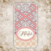 iPhone 4 Case - Coral and Beige Damask Monogram iPhone  - iPhone Case, iPhone 4 Cover, Monogram iPhone Case (iM5110)