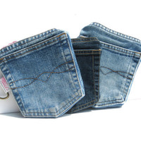 Denim Pockets Wallet with zipper for iPhone by SmiLeaGainCreations