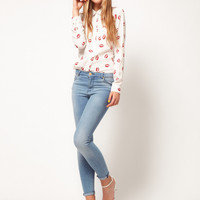 New Stand Collar Button silk-like Red lip Print Long Sleeve Shirt Tops Blouse