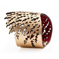 Handmade Algae Gold Leather Cuff by Daniela Zagnolli | Flechada