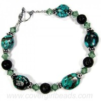 Turquoise Bead Bracelet Nugget Lava Rock Gemstone Silver Toggle Women