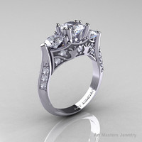 Nature Inspired 14K White Gold Three Stone White Topaz Diamond Solitaire Wedding Ring Y230-14KWGDWT