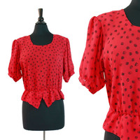 Vintage Red Polka Dot Shirt - 1980s Short Sleeve Semi Sheer Clothing / Artistic Circles