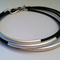 Steling Silver and Leather Wrap bracelet by Jennasjewelrydesign