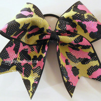 Pink and Yellow Cheetah Sparkle Large Cheer by SparkleBowsCheer