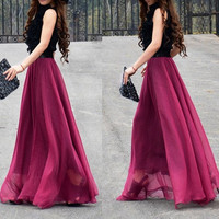 women's wine red silk Chiffon 8 meters of skirt circumference long dress maxi skirt maxi dress  XS-L