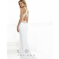 Faviana 2013 Prom - White Sequin Dress With Mesh Back - Unique Vintage - Prom dresses, retro dresses, retro swimsuits.