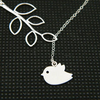 Bird Lariat Necklace by DanglingJewelry