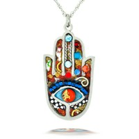 Vibrant Hamsa Necklace to Protect from the Evil Eye from the Artazia Collection #2412M JN MN
