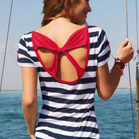 Lea Nautical Stripe Bow-Back Short-Sleeve