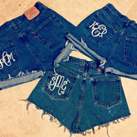 Monogrammed High Waisted Denim Shorts Custom Made Preppy Initial Shorts Sorority Tumblr Hipster