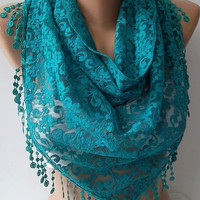 by womann Lace scarf... It made with good quality Lace -- Turquoise