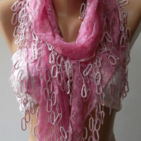 by womann Lace and Elegance  scarf ...Pink