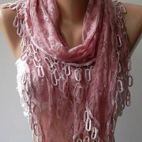 by womann Elegant scarf...Soft pink...Lace scarf