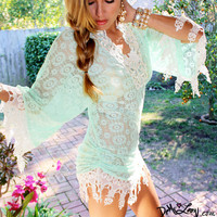 Demi Loon Mermaid Mint Fringed Scalloped Crochet Boho Bikini Coverup Tunic Mini Dress