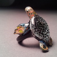 Sea Turtle Ring with Silver  Dichroic Colored Shell