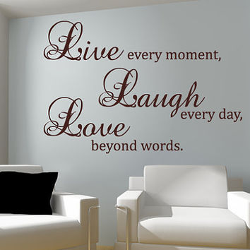 Live laugh love wall decal vinyl sticker quote art living for Dining room wall quote decals