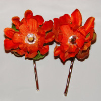 Beautiful bobby pins with flowers Heavy duty 2 by LizziesBowtique1