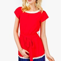A'GACI Pleated Colorblock Boat Neck Dress - Hey Sailor!
