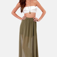 Floor de Lis Olive Green Maxi Skirt