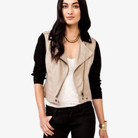 Life In Progress™ Contrast Trim Moto Jacket | FOREVER 21 - 2031557414