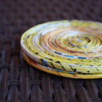 Yellow Recycled Paper Coasters - Set of 2