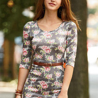 Floral Belted Sweater-Knit Dress