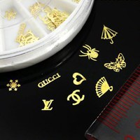 350BUY 60pcs 12 Hollow Style DIY Gold Metal Sticker slices Charms Wheel Nail Art