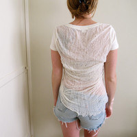 Shredded Shirt Back Tee See Through Crop Top Ripped White Torn Cut Tunic Summer
