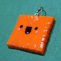 Happy Cheese Cracker Cheezit -  READY TO SHIP - Kawaii Polymer Clay Charm - Handmade by The Happy Acorn