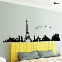 Large I Love Paris Eiffel Tower Sticker Decal for Kids Room Living Room: Baby