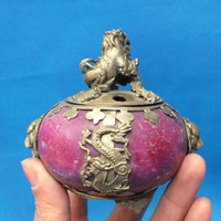 Chinese old Tibetan silver dragon Lions jade incense burner